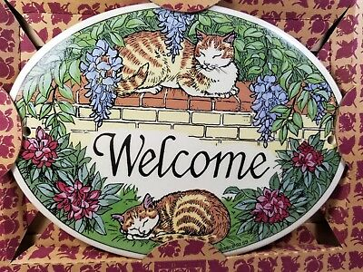 Vintage 1992 Santa Barbara Ceramic Design Welcome Sign, Cats on Garden Wall NIB
