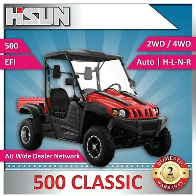New Hisun 500 Classic Utility Vehicle  H-L-N-R 2/4WD Roof & W-Screen, Winch