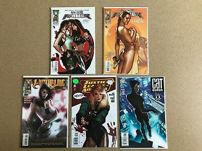 Catwoman 53 JLA 6 Tomb Raider 45 47 Witchblade 87 Adam Hughes VF/B Lot of 5