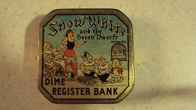 A SNOW WHITE & THE 7 DWARFS daily Dime REGISTER Bank Collectible