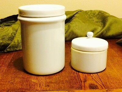 2 Antique Metal Medical Storage Containers For Doctors & Nurses With Lids