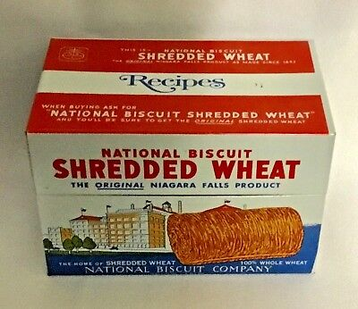 Vintage Metal Shredded Wheat Recipe Box w/Nabisco Recipes, great condition