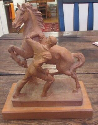 Antique Anri Italy Finely Carved Wood Artist Figure Statue of Horse & Man Diller