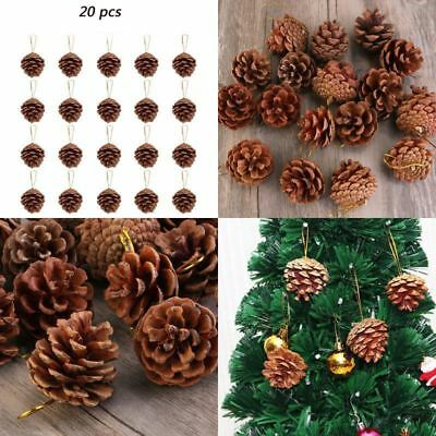20Pcs Christmas Ornaments Pine Cone Xmas Home Hanging Decorations Wooden Pendant