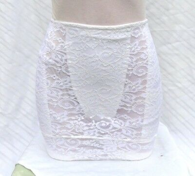 Vintage Vanity Fair white nylon stretch lace satin shaper skirt sissy Med