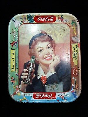 1950 Coca-Cola Tin Litho Advertising Serving Tray Wind In Have A Coke Tray Usa