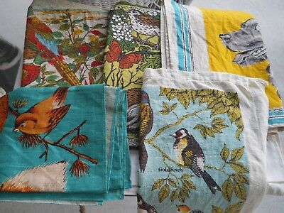 Lot Of 5 Vintage Linen Kitchen Tea Towels Colorful Birds Dogs Fox Animals New