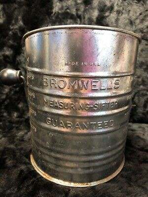"""Vintage Bromwell's Measuring Sifter 5 3/4"""" Hand Crank decorative or functional"""