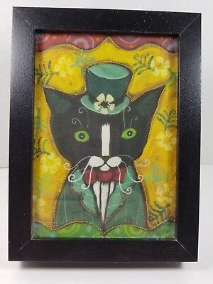 "Small Framed Picture Green-Eyed ""Irish Tuxedo Cat"" Painted on Fabric, Signed"