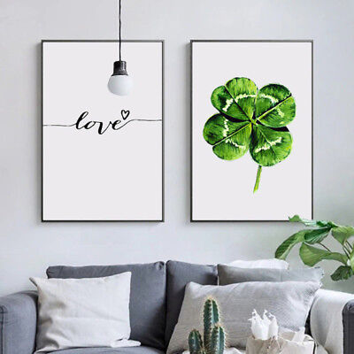 HK- Nordic Leaf Love Canvas Wall Painting Picture Poster Home Wall Art Decor Hea