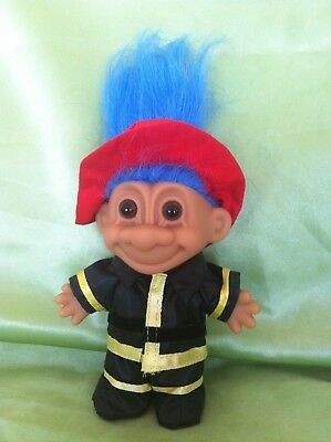 Russ Troll Doll Firefighter fireman chief blue hair collectable original