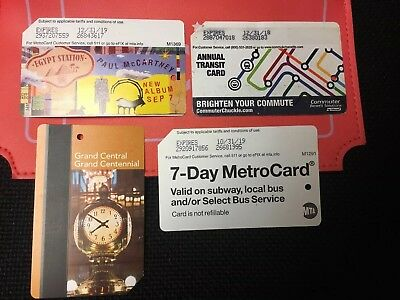 NYC Metrocard Empty Paul McCartney, Annual Transit, Grand Central, 7 Day Mta