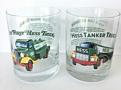 "(2) First Hess Truck & ""Tanker"" Collectible Glass — 1996 Classic Truck Series"