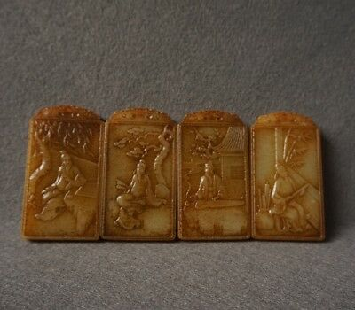 Chinese Exquisite Hand-carved the ancients Text carving Hetian jade Pendant