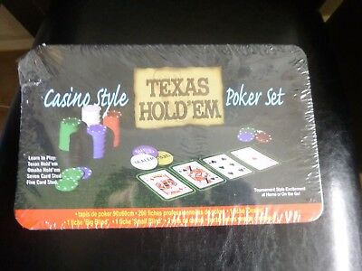 NEW 200Pcs CASINO STYLE Texas Hold'em Holdem Poker Chip Set Card Game