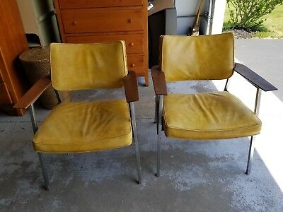 Antique c.1960's Gunlocke Chrome, Walnut and Leather Mid-Century Modern Chairs