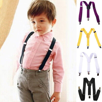 JN_ Children Kids Boy Girls Clip-on Y-Back Suspenders Elastic Adjustable Brace