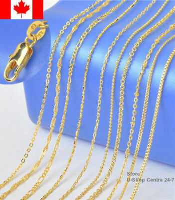 18KGF Yellow Gold Filled Chain Necklace Snake,Venice Box,Figaro Classic Jewelry
