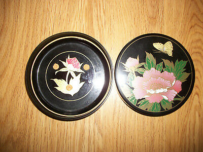 Vintage Black Lacquer Coasters with Box Lotus Flower EmbossedGold  Asahi Japan