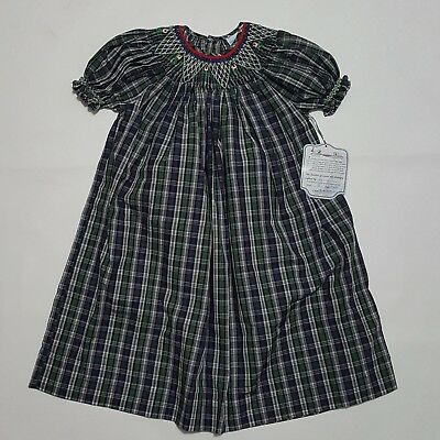 New 3T Smock Dress Boutique Green/ Blue Plaid