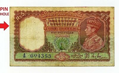 Burma India Five 5 Rupees Reserve Bank Of India