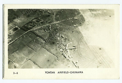 Ww2 Airplane View Of Yontan Airfield Okinawa Japan Wwii Real Photo Postcard