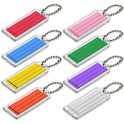 Large Key Tag With Ball Chain, Clear Assorted Color Inserts, 50 Per Box (90100)