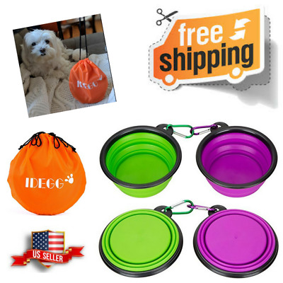 Portable Dog Bowl Collapsible Cat Pet Silicone Food Grade Foldable Water Travel