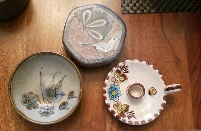 Vintage Mexican Art Pottery  Lot of 3, covered box, candlestick, dish