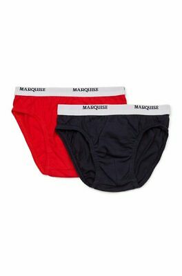 Boys Marquise 2 Pack Cotton Underwear Briefs Navy Blue & Red (142)