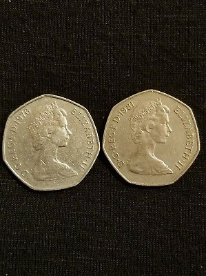 Wow! Two Twentieth Century 50 Pence British Coins!