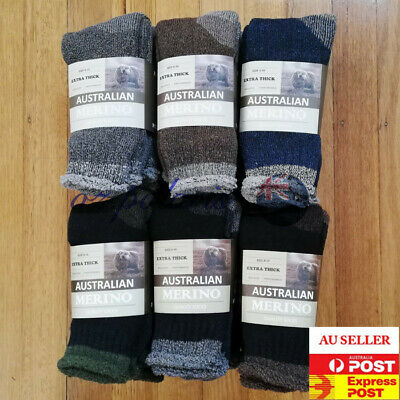 3 Pairs Size 6-10 Heavy Duty Australian Merino Extra Thick Wool Work Socks