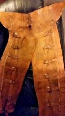 Vintage Antique Old Cowboy Western Americana Leather Chaps
