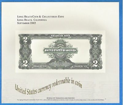 BEP souvenir card B 264 Long Beach 2002 back proposed 1899 $2 Treasury Note