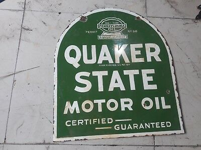 "Porcelain Sign QUAKER STATE MOTOR OIL SIZE 24.5"" X 21.5"" INCHES 2 SIDED"