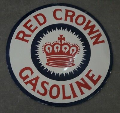 "Porcelain Red Crown Enamel Sign Size 30"" Inches Double Sided"