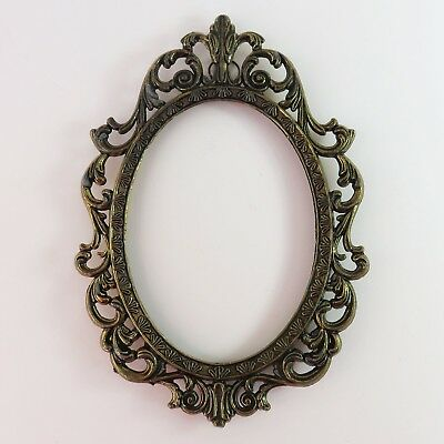 Vintage Brass Filigree Ornate Oval Hangable Photo Picture Frame, Italy
