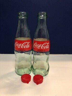 Coca Cola Salt And Pepper Shakers 1 Pair 2 Bottles and MATCHING COKE Caps Lids