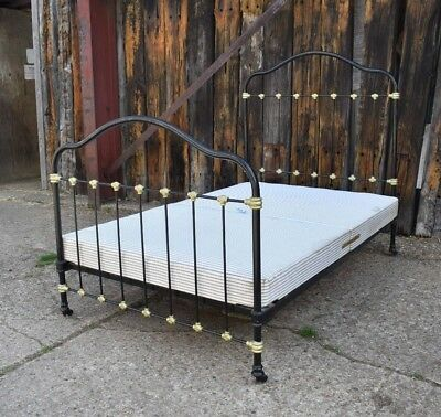 Antique Victorian Cast Iron Bed 4 foot with Made to measure Divan