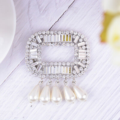 1PC rhinestone faux pearl shoe clips women bridal prom shoes buckle decor  X
