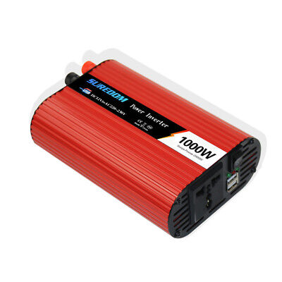 Car Power Inverter With Cigarette Lighter Plug Cables 1000W DC12V to AC220V Red