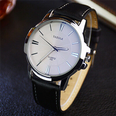 YAZOLE Mens Military Leather Strap Quartz Analog Army Casual Dress Wrist Watch