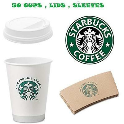 White Disposable Hot Paper Cup, 12 Ounce, Sleeves And Lids (Pack Of 50 Each)