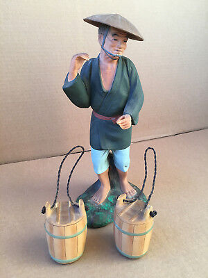 VINTAGE JAPANESE HAKATA Man w/ Hat Carrying Barrels Water Carrier rare Figurine