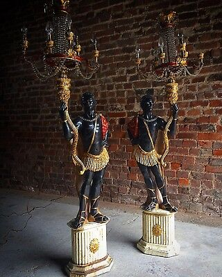 Antique Nubian Blackamoor Lamps Candelabrum Floor Lights Early 20th Century Wood