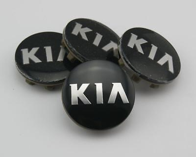 4x KIA 58mm ALLOY WHEEL CENTER CAPS FOR KIA black BADGE