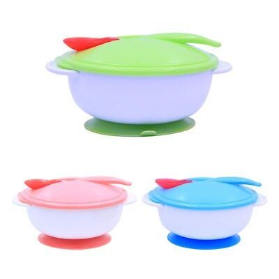 Baby Kid Sucker Bowl Spoon Set Toddler Newborn Feeding Eating Food Non-slip HOT