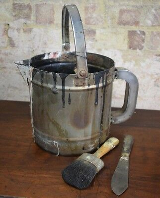 Vintage Artist Paint Pot Kettle Brush Painters Vintage Prop Still Life