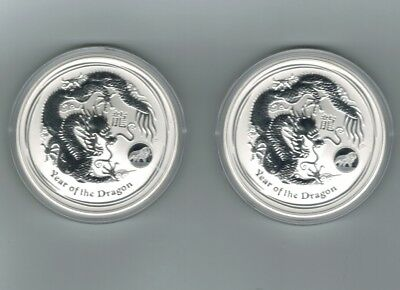 2x 2012 Perth Mint $1 Silver Dragon Lion Privy Coins 999, Fine Silver 99.9%