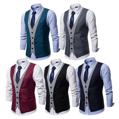 Men's Top Designed Double Breasted Business Waistcoats Casual Suits Tops Vests